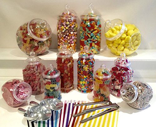10 Pc Candy Buffet Set Plastic Candy Jars Candy