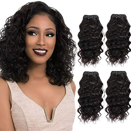 FASHION LINE Brazilian Body Wave/Water Wave/Deep Wave/Funmi/Human Hair Bundles Unprocessed Human Hair Natural Black(Water Wave, 12