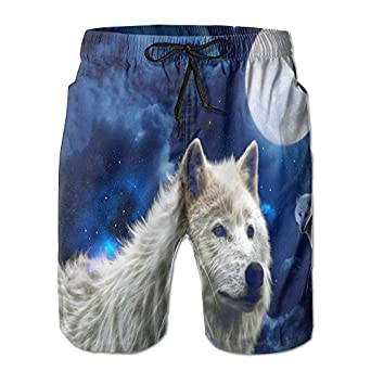 ba03543fcd new Men's Swim Trunks White Wolf Stars Clouds Moon Quickly-Dry Beach Wear