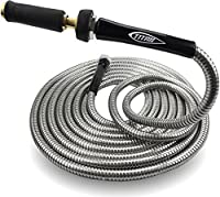 Heavy Duty 304 Stainless Steel Garden Hose by Titan BONUS Solid Brass Watering Nozzle Lightweight Kink-Free Strong Durable Metal Garden Hose Outer Layer