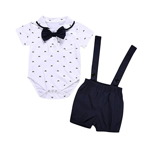 Newborn Baby Boy Girl Bow Outfits Clothes Romper Tops Jumpsuit Shorts Pants 2PCS
