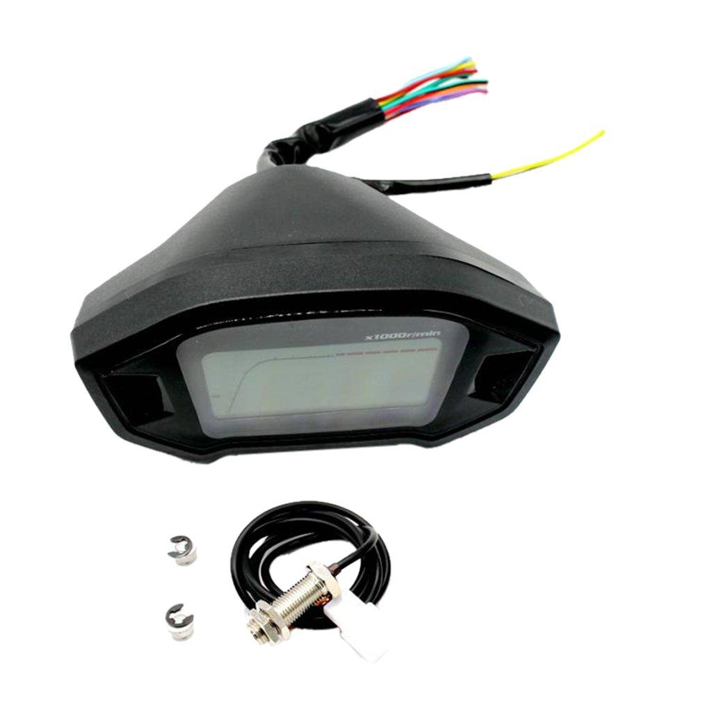 Sharplace Odom/ètre Universel Moto LCD Digital Compteur Vitesse Tachymetre 12 V