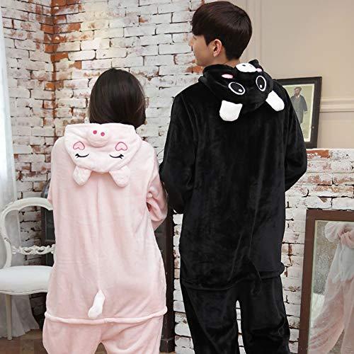 QINCH Home Pijamas Unisex para Adultos - Un Traje de Cosplay de Peluche de una Pieza para Animales Espesor de Invierno Ocio (Color : Black Pig, ...