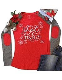 NANYUAYA Women Christmas Let It Snow O-Neck Baseball Letters Print Splicing T-Shirt