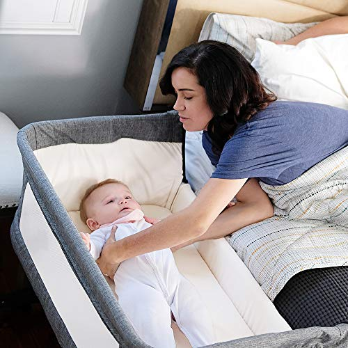 51HN543UByL - Mika Micky Bedside Sleeper Bedside Crib Easy Folding Portable Crib,Grey
