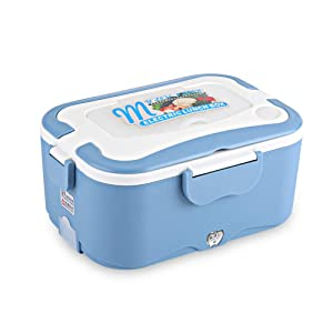Portable Car House Electric Heating Lunch Mini Box Bento Food Warmer Container Thermostatic Traveling Catering Buffet(24V-Blue)