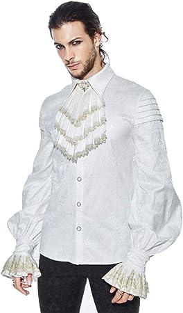 Camisas de los Hombres Camisa Blanca para Hombre Camisa con Cuello Alto para Hombre Autumn Steampunk Gothic Tide Adecuado para Viajar y Trabajar (Size : L): Amazon.es: Hogar