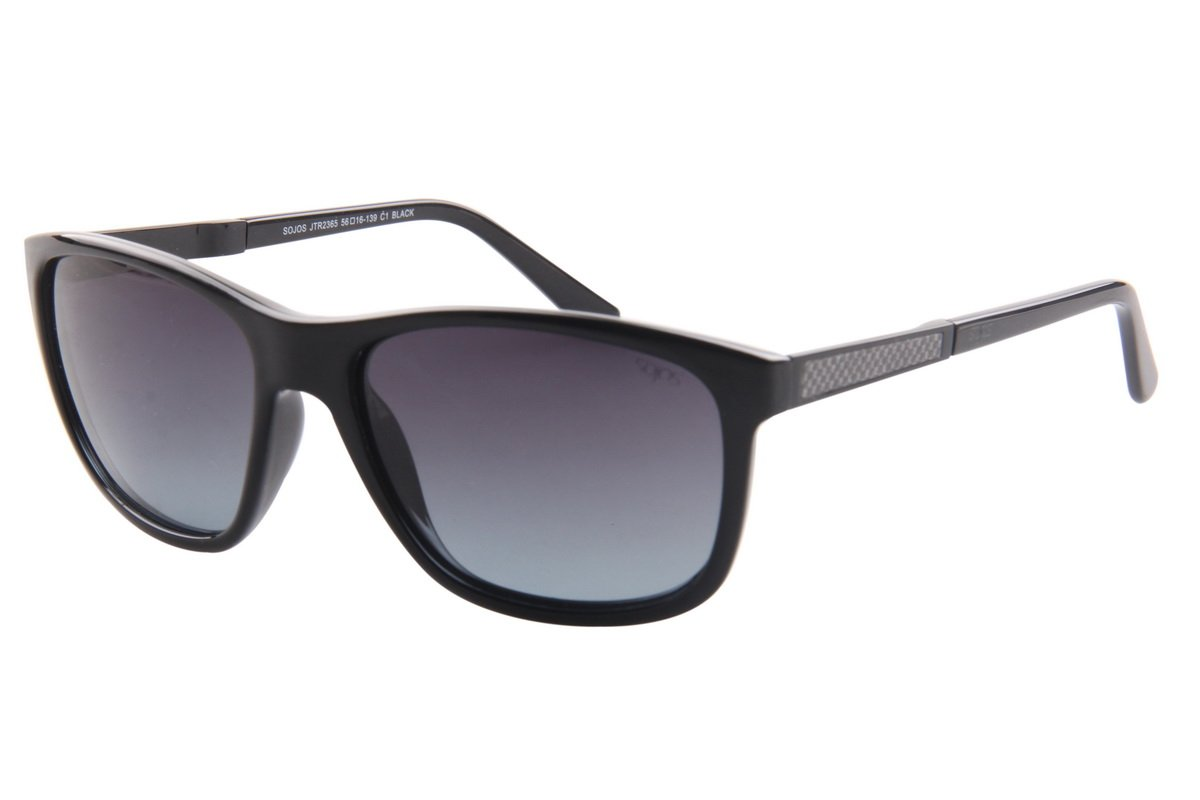 SojoS TR90 Shatterproof Carbon Fiber Polarized Lens Sunglasses for Men and Women With Black Frame/Black Lens by SOJOS