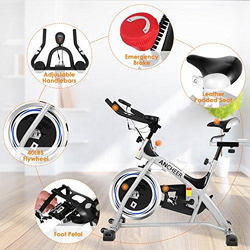 Belt Drive Indoor Cycling Bike, Spin Bike (Sliver)