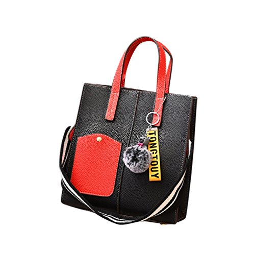 Messenger Solid Sets Women Hairball Simple Decoration Zipper ZhiYuanAN 2PCS Shoulder Color Wide Bag Handbag Strap amp;Red Fashion Black q60BFdw5