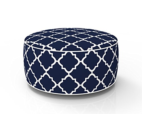 PacifiCasual Round Navy Inflatable Ottoman for Indoor/Outdoor Patio Use Portable Travel Chair Footrest Cushion, Dia 21