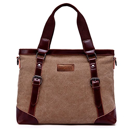 College Coffee Canvas Handbag Messenger Crossbody Tote Briefcase Shoulder Business Multifunction Bag 14 Handle Laptop School Top Mens Satchels Inch Rullar WRAfgHW