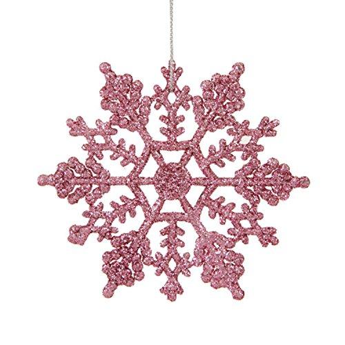 Glitter Snowflake Christmas Ornaments (Club Pack of 24 Mauve Pink Glitter Snowflake Christmas Ornaments)