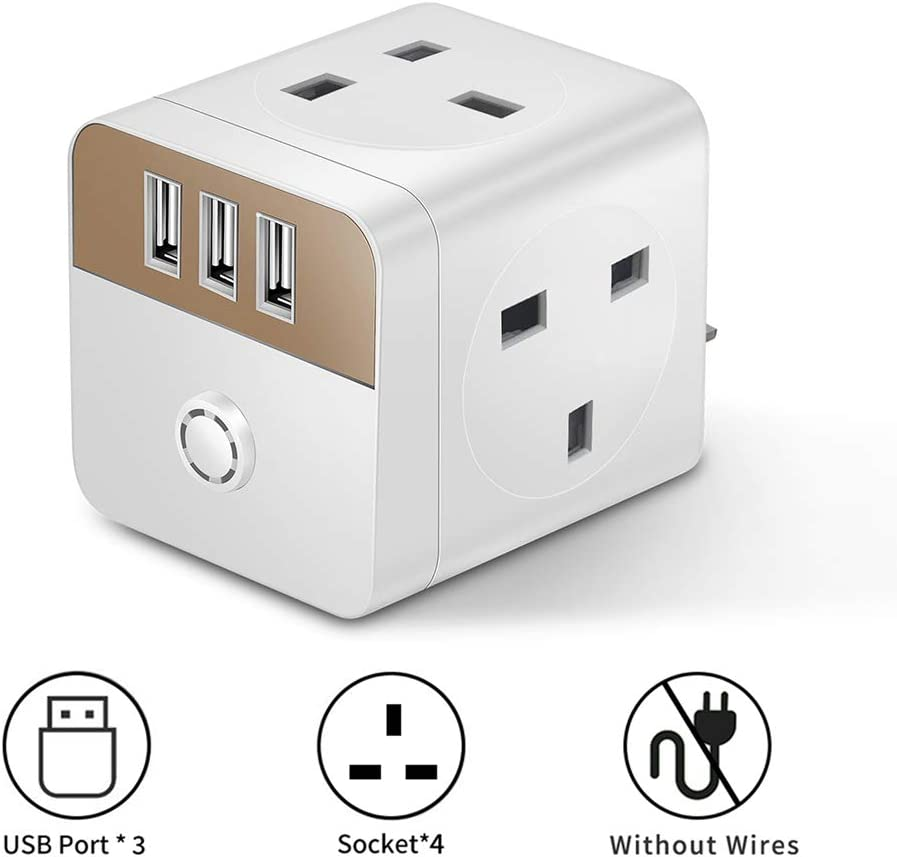 4 Way 3 USB UK Plug Extension,Multi Plug Wall Socket Extension With Indicator Light Switched Wall Power Strip,13A//250V//2300W White+Gold