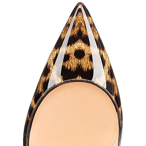 MERUMOTE - Zapatos de vestir de Material Sintético para mujer 46 Leopard-Lackleder