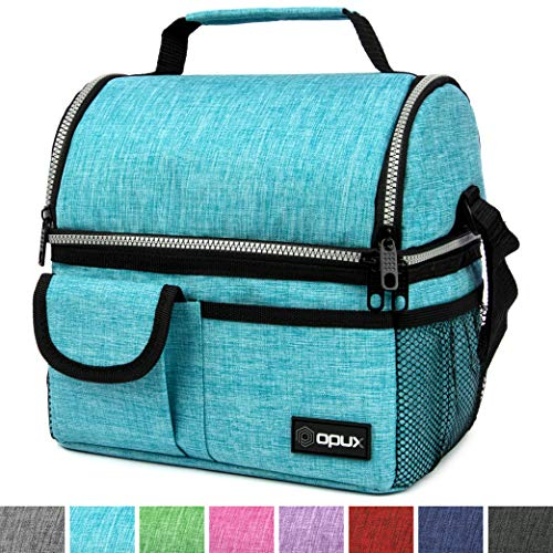 - OPUX Insulated Dual Compartment Lunch Bag for Men, Women | Double Deck Reusable Lunch Pail Cooler Bag with Shoulder Strap, Soft Leakproof Liner | Large Lunch Box Tote for Work, School (Turquoise)