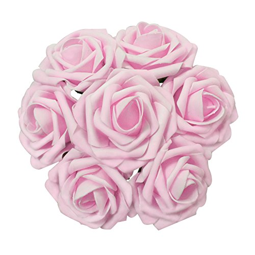 Jing-Rise Artificial Flowers 50PCS Real Looking Fake Roses With Stem For DIY Wedding Bouquets Centerpieces Party Baby Shower Home Decorations(Light Pink) Baby Pink Roses