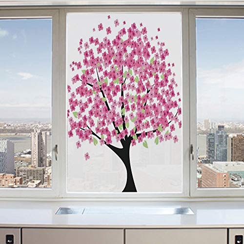 3D Decorative Privacy Window Films,Cherry Blossom Festive Season Traditional Style Classic Floral Illustration Print,No-Glue Self Static Cling Glass film for Home Bedroom Bathroom Kitchen Office 17.5x