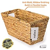 BEST CHOICE Storage Baskets Anti-Mold Mildew Stained Special Finishing Handmade of Nature Water Hyacinth, Magazine Book Toys CDs DVDs Organizer Bins 15''L x 8''W x 8.2''H by Mallaca