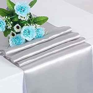"florata negro satinado camino de mesa 12""X 108(pulgadas) boda fiesta decoración de mesa"