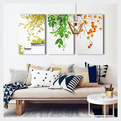 Leaves and Fruits Chinese Style Watercolor Painting x3 Panels