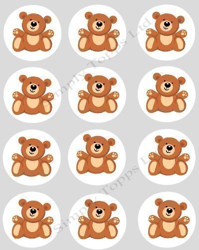Teddy Topps (12 Teddy Bear Brown CUPCAKE TOPPERS - precut 40mm ricepaper cake decorations)