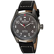 Alpina Men's 'Startimer' Swiss Automatic Stainless Steel and Leather Casual Watch, Color:Black (Model: AL-525G4TS6)