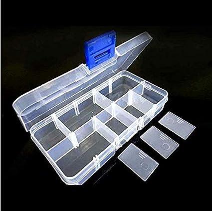 LINSUNG Caja de almacenamiento de plástico 10 15 24 36 rejilla botón de metal transparente extraíble equipo de pesca joyería perla accesorios electrónicos
