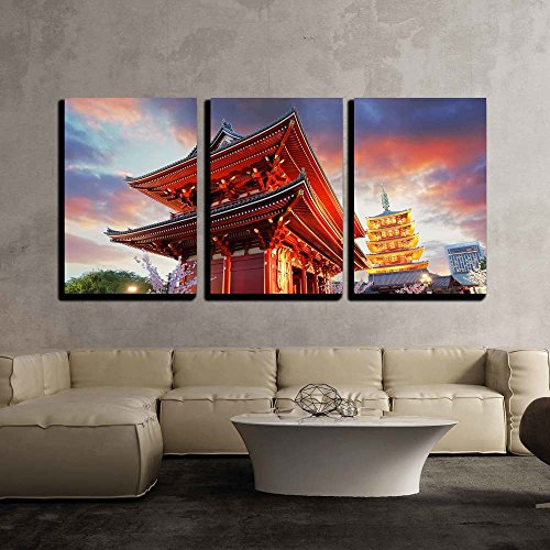 wall26 - 3 Piece Canvas Wall Art - Tokyo - Sensoji-Ji, Temple in Asakusa, Japan - Modern Home Decor Stretched and Framed Ready to Hang - 16