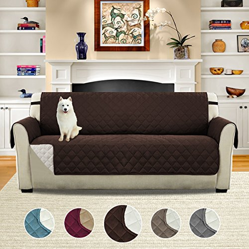H.VERSAILTEX Soft and Smooth Quilted Quick Drape Reversible Faux Suede Plush Furniture Cover with Elastic Straps, Prevent Stains/Spills Protector for Sofa, 75 inch X 110 inch (Sofa - (Quilted Couch Covers)