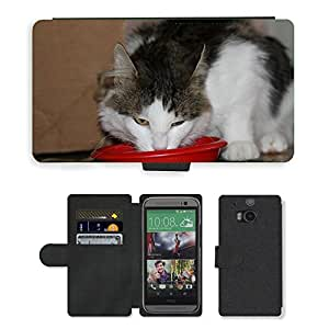 Just Phone Cases PU LEATHER case coque housse smartphone Flip bag Cover protection // M00129172 Gato Hangover Europea gato de pelo // HTC One M8