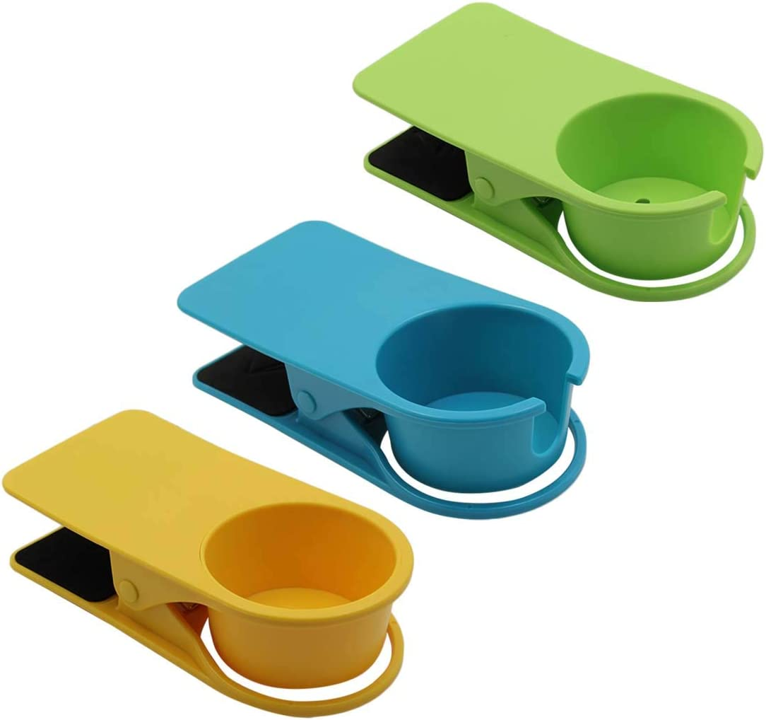 Jiozermi 3pcs Drink Cup Holder Clip, Cup Holders for Water Drink Beverage Soda Coffee Mug, Snap to Tables Desks Chairs Shelves Counters (Blue, Green and Yellow)