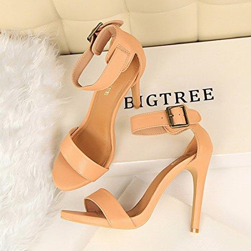 punta de Vestido Vestido tobillo YIBLBOX Correa fiesta de Zapatillas Pink abierta con Para Tacón formal sexy alto Stilleto mujer Sandal t6qwfv