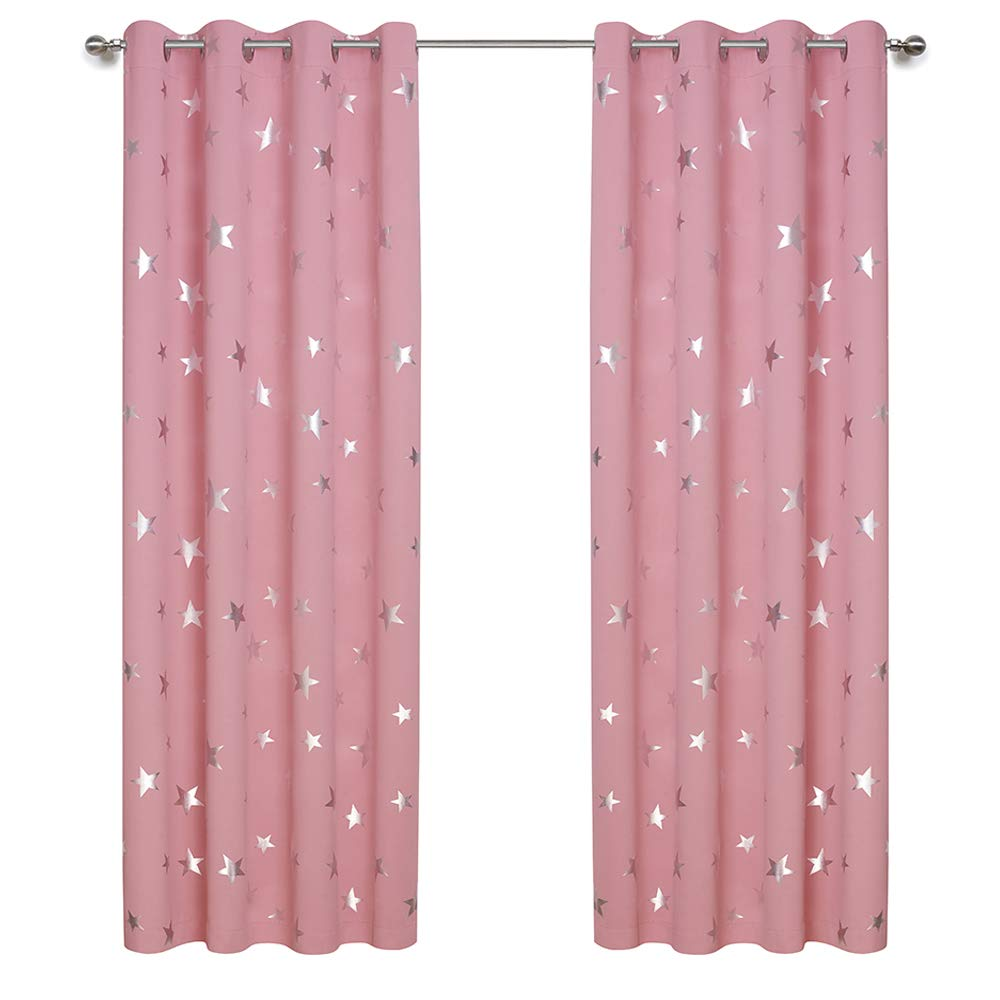 Anjee Cute Pink Blackout Curtains for Girls' Bedroom, Silver Star Print Thermal Insulated Window Curtains, 52 x 84 Inches, 2 Panels 2 Tiebacks, Baby Pink
