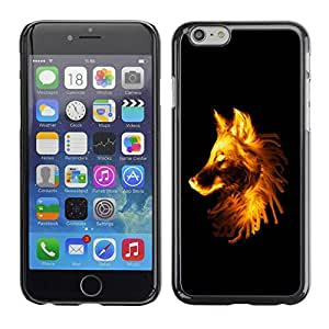 Paccase / SLIM PC / Aliminium Casa Carcasa Funda Case Cover para - Flaming Wolf - Apple Iphone 6