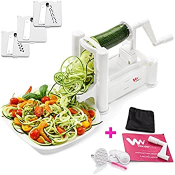 WonderVeg - Veggie Spiralizer Vegetable Slicer - Zucchini Spaghetti Pasta Noodle Maker - Cleaning Brush, Mini Recipe Book, 6 Spare Parts Included