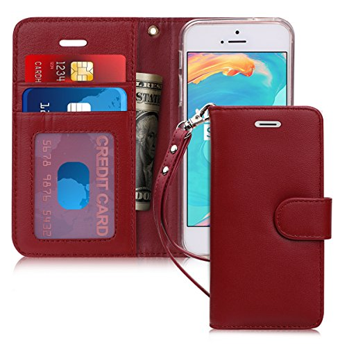 FYY [Luxury Genuine Leather] Wallet Case for iPhone SE/iPhone 5S/iPhone 5 Case, [Kickstand Feature] Flip Folio Case Cover with [Card Slots] and [Note Pockets] for Apple iPhone SE/5S/5 Wine Red ()