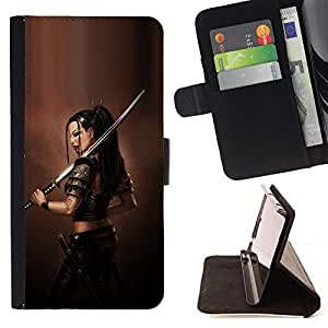 BullDog Case - FOR/Samsung Galaxy Note 3 III / - / ASIAN WARRIOR GODDESS /- Monedero de cuero de la PU Llevar cubierta de la caja con el ID Credit Card Slots Flip funda de cuer