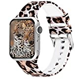 Aomoband Floral Bands Compatible with Apple Watch 38mm 42mm 40mm 44mm, Soft Silicone Pattern Printed Replacements Straps for iWatch Series 4/3/2/1
