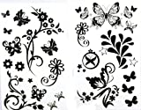 SPESTYLE waterproof non-toxic temporary tattoo stickerslatest new release 1 package with 2pcs waterproof black flower and butterfly fake tattoos