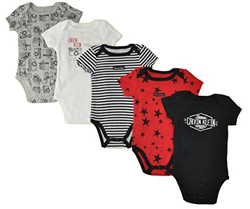Calvin Klein Baby Boys' 5 Pack Bodysuits (18M, Black/Grey/Red)