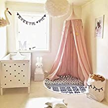 Princess Bed Canopy for Children, Cotton Mosquito Net Kids Play Tent Dome Room Decoration for Baby Playing Reading Height 240cm/94.5Inches (Pink)