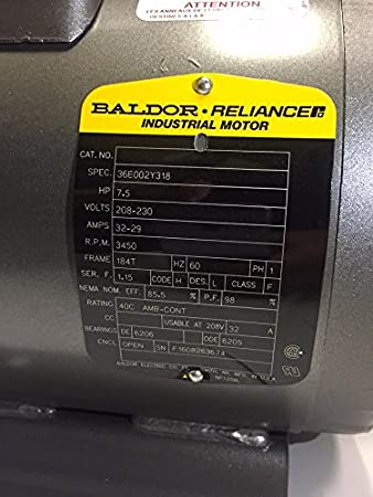 Baldor 7.5 Hp Electric Motor 3450 RPM 184 T Frame 1 Ph Single Phase on air compressor capacitor wiring diagram, air compressor 240 volt wiring diagram, air compressor motor starter wiring diagram, air compressor pressure switch wiring diagram,