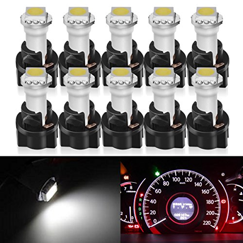 Partsam 10x White PC74 Twist Socket T5 Wedge 37 70 1-SMD 5050 LED Dashboard Instrument Cluster Light -