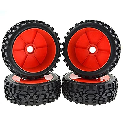Rowiz RC Buggy Hex 17mm Wheels Concentric Soft Rubber Tires for 1:8 Off  Road Buggy Red Pack of 4