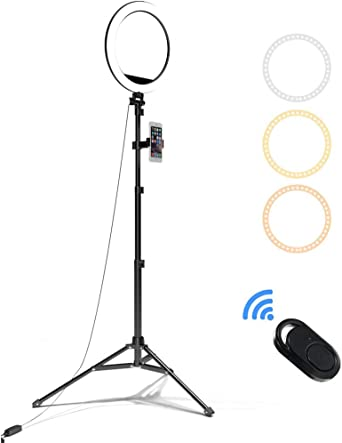 Led Ring Light With Tripod And Phone Holder And Remote Control 10 Inch Selfie Ring Light 3 Lighting Modes And 10 Adjustable Brightness For Youtube Facebook Live Stream Make Up Beleuchtung