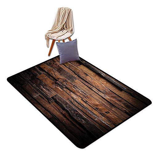 Bath Rug Chocolate Rough Dark Timber Texture Image Rustic Country Theme Hardwood Carpentry W55 xL79 Suitable for Restaurants,Family Rooms,corridors,foyers.