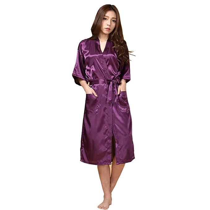 Mujer Pijama Kimono Satén Seda de Manga 1/2 Hueca Elástico Estilo de ...