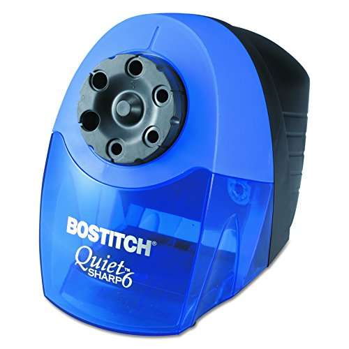 Bostitch QuietSharp 6 Heavy Duty Classroom Electric Pencil Sharpener, 6-Holes, Blue (EPS10HC) (Bin Quot Pull)