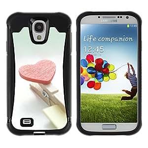 Pulsar Defender Series Tpu silicona Carcasa Funda Case para SAMSUNG Galaxy S4 IV / i9500 / i9515 / i9505G / SGH-i337 , Heart and clips